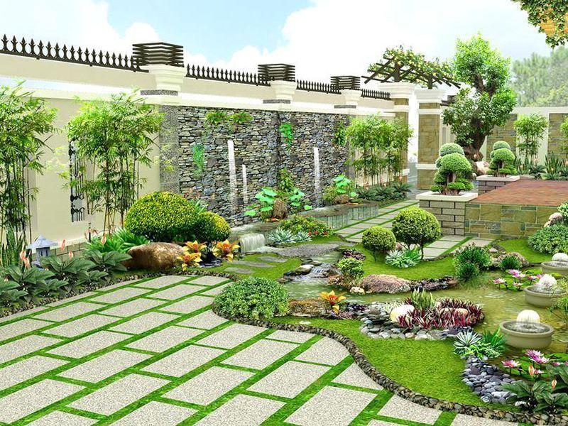 Màu sắc, bối cảnh trong thiết kế sân vườn có sự đồng nhất với nhau