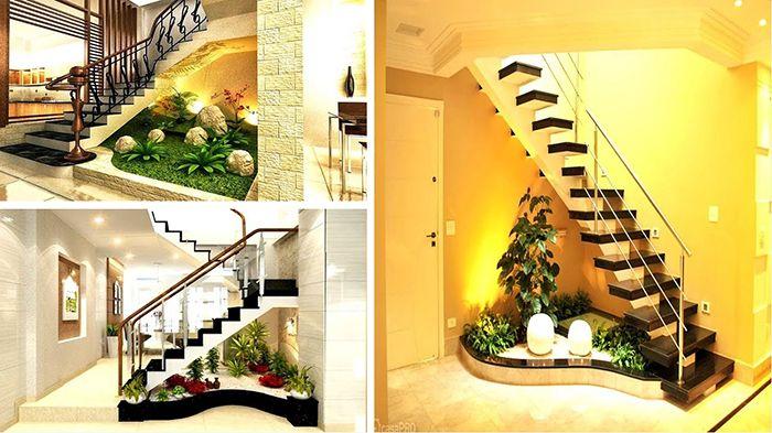 mẫu thiết kế tiểu cảnh cầu thang cho biệt thự được đánh giá cao
