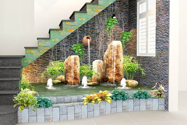 Tiểu cảnh cầu thang nước tạo nên một không gian sinh động