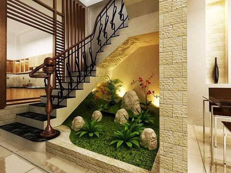 Tiếu cảnh khô dưới gầm cầu thang được trang trí trong diện tích eo hẹp
