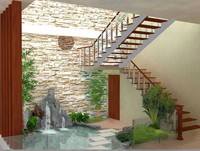 Tiểu cảnh nước dưới gầm cầu thang trong phong cách trang trí hiện đại