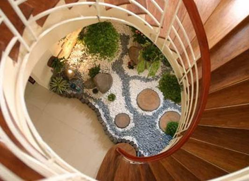 Phong cách thiết kế tiểu cảnh gầm cầu thang xoắn ốc