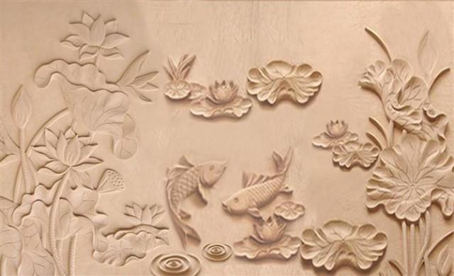 Tranh phù điêu hoa sen bằng xi măng có khả năng điều hòa vượng khí tăng cường năng lượng